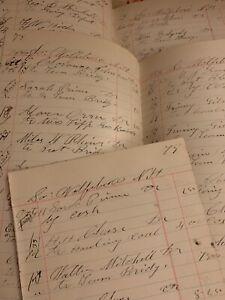 Vntg-Ledger-Paper-Wolfeboro-New-Hampshire-1886-Beautiful-Calligraphy-Ephemera