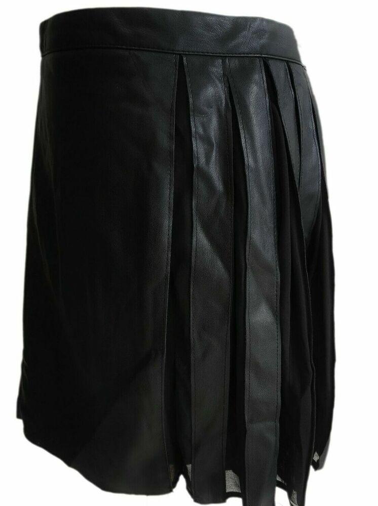Authentique Zara Court Noir En Cuir Synthétique Plissé Mini Jupe Taille M Medium Neuf