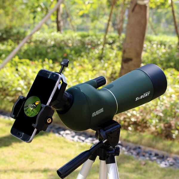20-60x60mm Angled Zoom Spotting Scope Waterproof with Cell Phone Mount Adapter