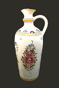 "Slovakia Ceramic Pottery Pitcher Jug 9.5"" Keramika Signed Modra Painted Floral"