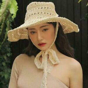 Women-Lace-Straw-Beach-Hat-Wide-Brim-Sun-Cowboy-Foldable-Floppy-Exotic-Cap-Jd-uk