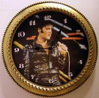 Elvis Presley 12 Wall Clock - black Leather - In Box