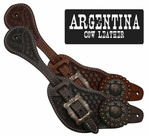 Showman Men's  Size SPUR STRAPS silverina Cow Leather Crossed Guns Concho  factory direct and quick delivery