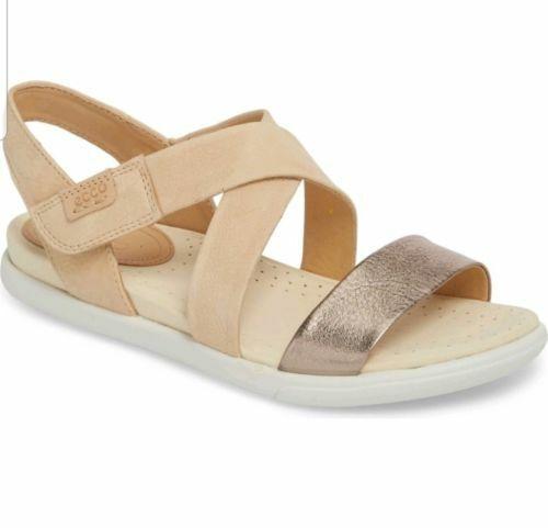 Ecco Damara Warm Grey Powder Leather Crisscross shoes Comfort Sandals 6 6.5 4 37