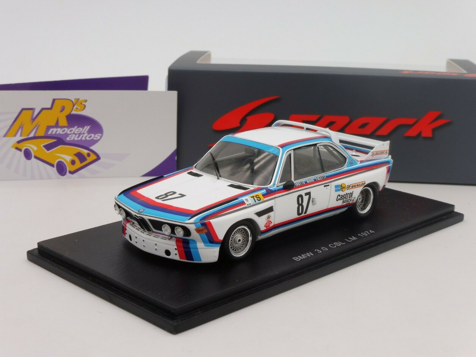 SPARK  s1566   BMW 3.0 CSL 24 H. Le Mans 1974 No. 87  BMW Motorsport  1 43  direct usine