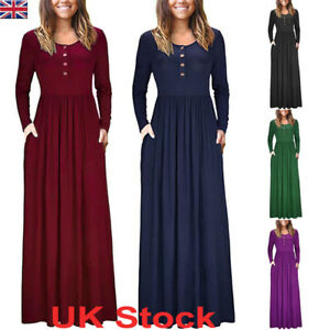 UK-Womens-Ladies-Jersey-Long-Sleeve-Slim-Maxi-Dress-Casual-Swing-Solid-Sundress