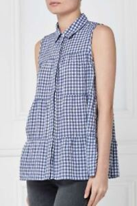 37e9287d Image is loading BNWT-NEXT-Ladies-Blue-White-Gingham-Sleeveless-Tiered-