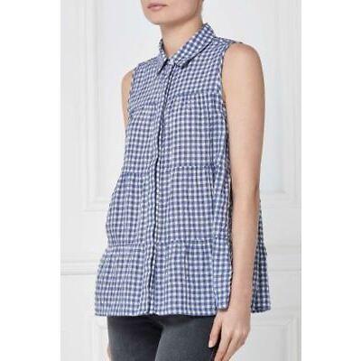 BNWT NEXT Ladies Blue White Gingham Sleeveless Tiered Shirt Blouse Top