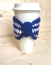 Crochet Bow Cup Cozy, Coffee sleeve, Eco-Friendly Handmade, Blue & White