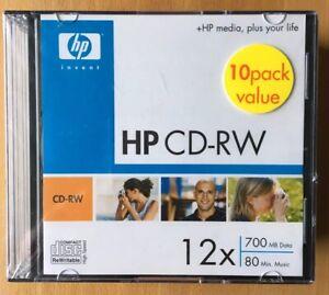 12 X Hewlett Packard Cd-rw Cwe00020 Nouveau Et Scellé 700 Md Data 80 M. Musique-afficher Le Titre D'origine