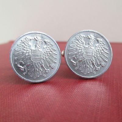 Repurposed Antique Austrian Coins Dark Silver Tone AUSTRIA 1918 Coin Cuff Links