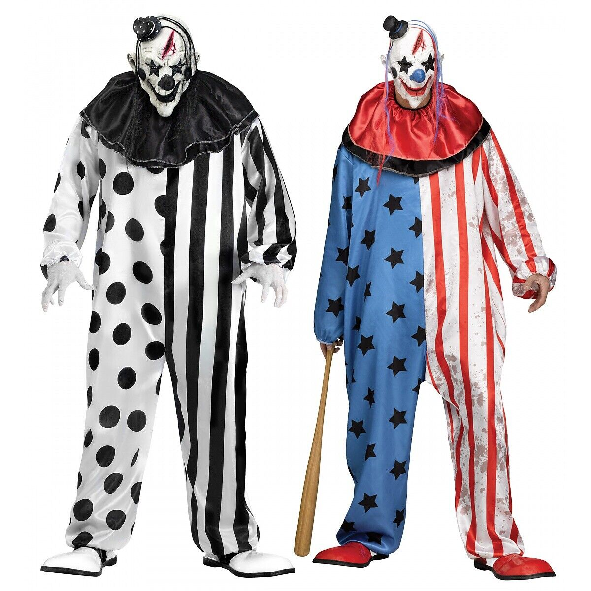 Women Sadistic Clown Costume Evil Killer Circus Halloween Fancy Dress Outfit New