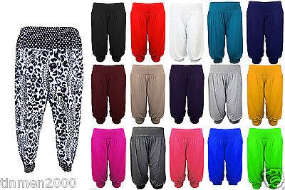 New Womens Ladies Ali Baba Harem Short Pant Trousers 3/4 Length Plain Plus Size