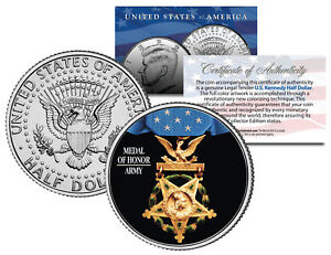 ARMY-MEDAL-OF-HONOR-Colorized-JFK-Kennedy-Half-Dollar-U-S-Coin-MILITARY-VALOR