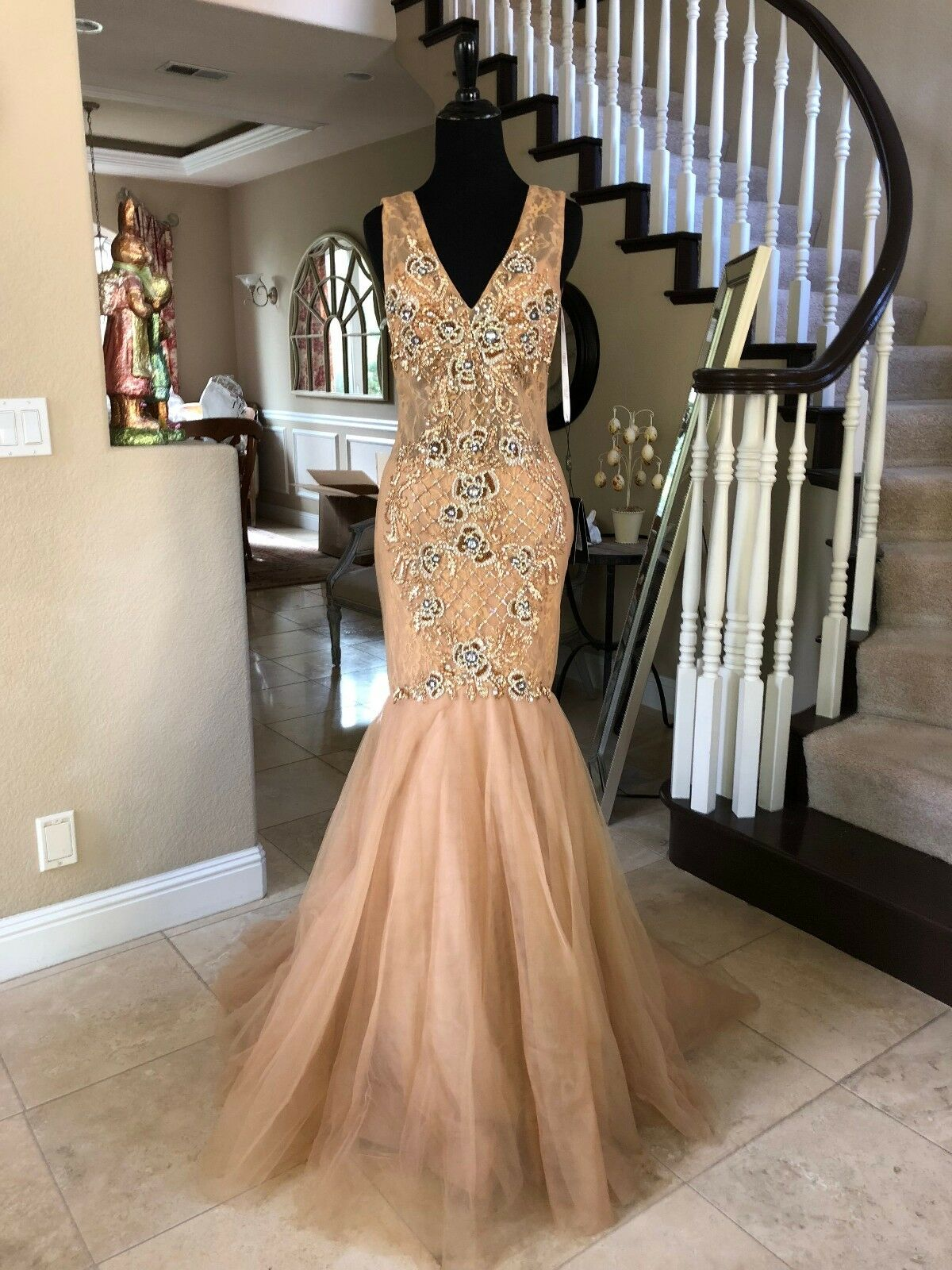 374 NWT TERANI COUTURE MERMAID PROM PAGEANT FORMAL DRESS GOWN P2637 SIZE 0