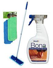4 Pads Swivel Microfiber Mop Kit / Bona Hardwood Floor Cleaner 32oz  Best Value!