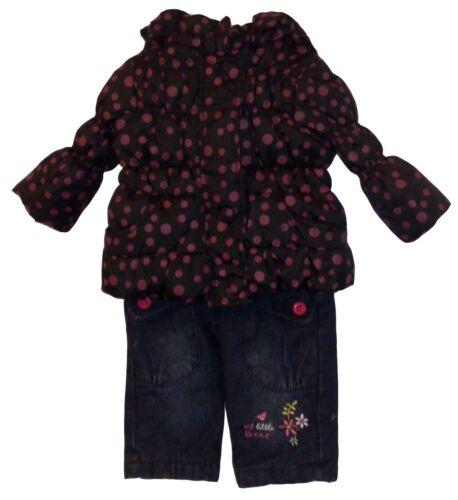 Baby Girl Winter 3 Pieces Outfit Padded Jacket Trousers Jogging Pants Top Set
