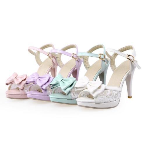 Women's Sweet Bowtie Floral Mesh Buckle Elegant Slingbacks Sandals Purple 4-10.5