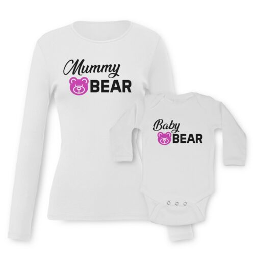 Mama Mummy Bear Baby Bear Baby Vests Moms T-shirt Tees Set Funny Graphic Print