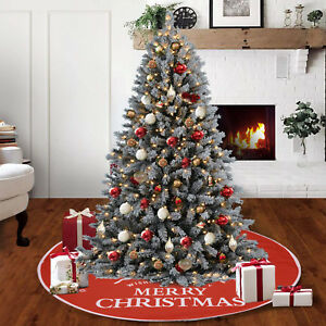 90cm-Christmas-Tree-Skirt-Floor-Mat-Cover-Xmas-Present-Base-Home-Party-Decor-Red