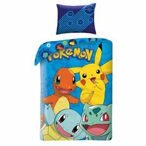 Pokemon-Bleu-100-Coton-Housse-Couette-Simple-et-Set-Taie-D-039-Oreiller-Reversible