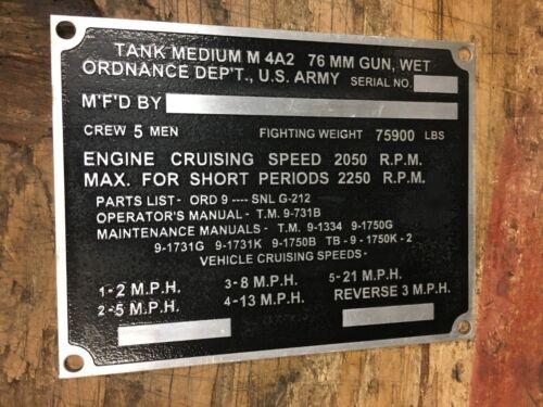 Tank Sherman M4A2 HVSS Main Data Plate G-212