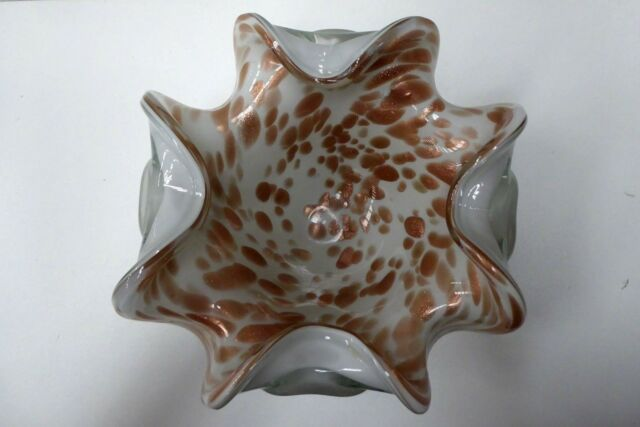 VINTAGE MURANO ART GLASS BOWL  CASED  GLASS GOLD FLECK  FREE FORM SEGUSO