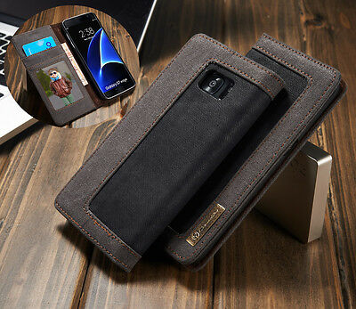 Canvas Leather Wallet Card Flip Cover Stand Case For Samsung Galaxy S6 /S7 Edge
