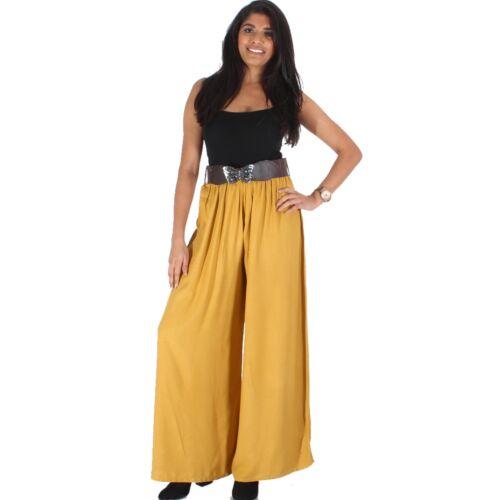 Womens Palazzo Plain Flared Wide Leg Pants Ladies Casual Belt Baggy Trousers