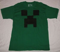 Large T-shirt Mens Minecraft Video Game Creeper Graphic Tee Face Logo Green
