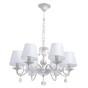 Lustre-a-6-branches-design-classique-en-metal-blanc-avec-abat-jours-en-tissu