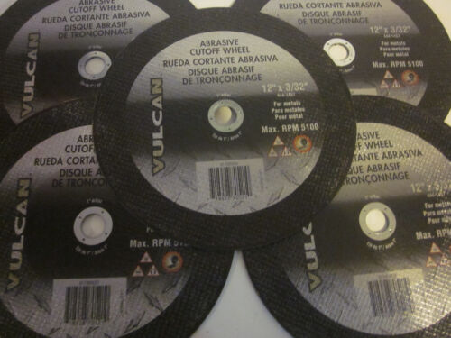 "~5~ ABRASIVE CUTOFF WHEEL 12/"" X 3//32/"" VULCAN FOR METALS CUTTING SAW DISC BLADE"