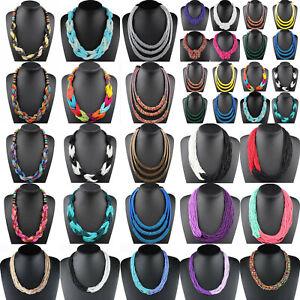 Fashion-Boho-Jewelry-Pendant-Chain-Choker-Chunky-Statement-Bib-Collar-Necklace