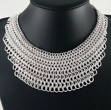 Stunning Silver Chainmail Colar Bib Statement Necklace
