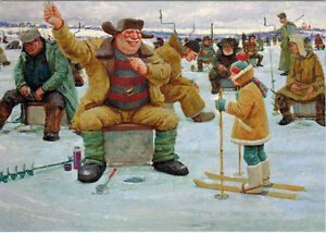 GOT-IT-Happy-fisherman-at-ice-hole-by-V-Stakheev-Modern-Russian-postcard