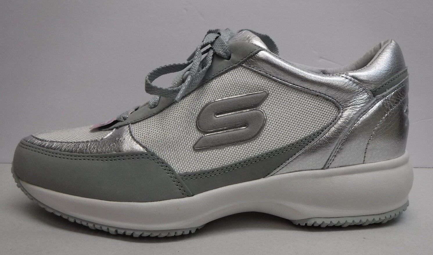 Skechers Wedge Fit Size 10 Silver Leather Sneakers New Womens Shoes