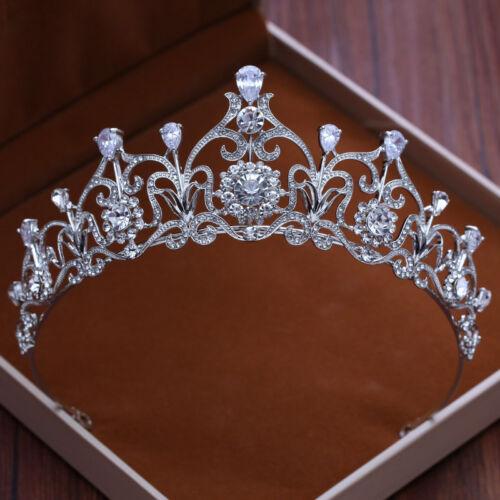 Princess Crown Rhinestone Tiara Wedding Bridal Silver Crystal Hair Accessories