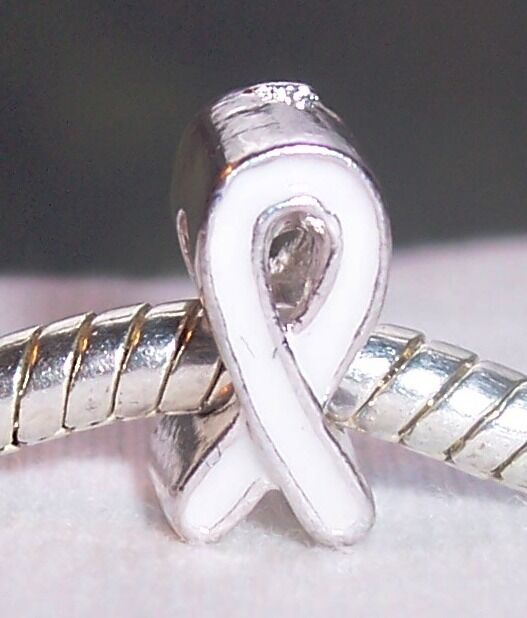 White Enamel Awareness Ribbon Silver Plated Bead Fits European Charm Bracelets