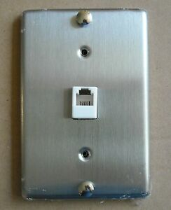 TEL PHONE JACK STAINLESS STEEL WALL MOUNT COVER PLATE | eBay