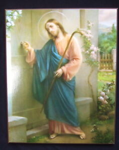 Catholic-Wood-Plaque-JESUS-KNOCKING-at-DOOR-picture-by-artist-SIMEONE-8x10-034