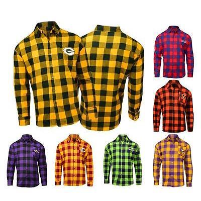 NFL Mens Football Large Check Flannel Shirt - Pick Team