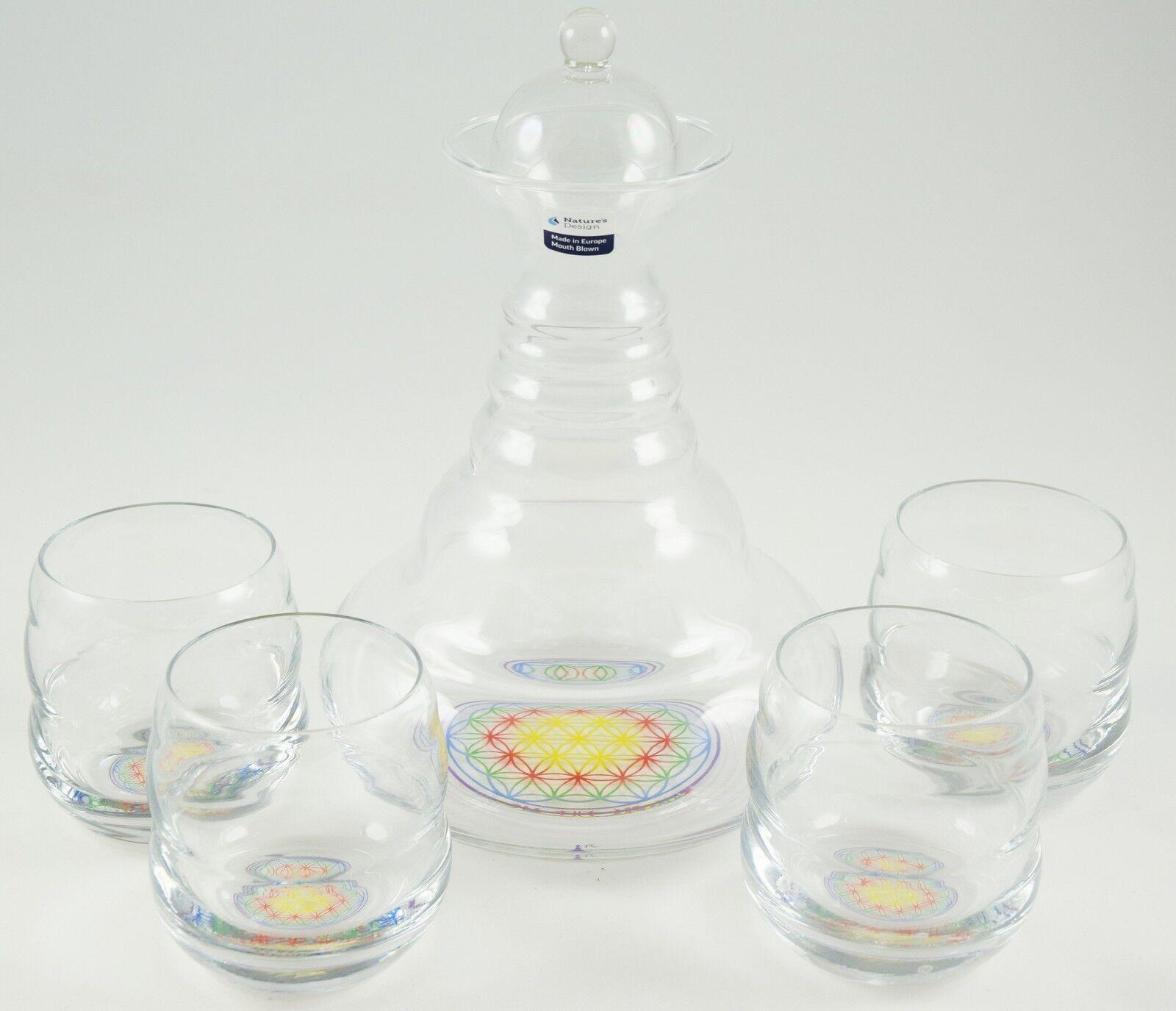 4XGläser, Karaffe Alladin, Vitalkaraffe, Wasserkaraffe, Blaume des Lebens,happy