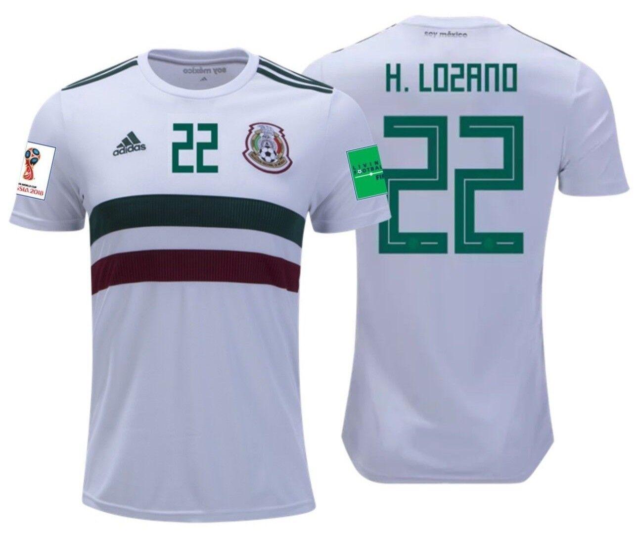 Adidas Hirving Lozano México Away Jersey Copa Del Mundo 2018 Parches