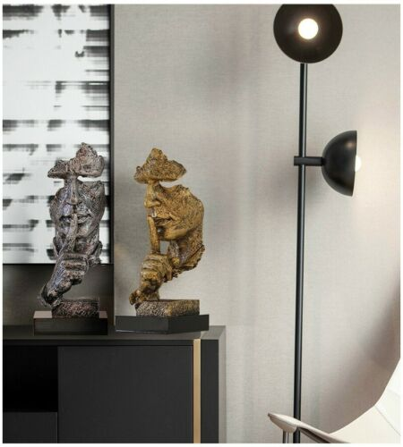 Nordic Silence Is Gold Abstract Statue Sculpture Resin Modern Art Home Decor Gif