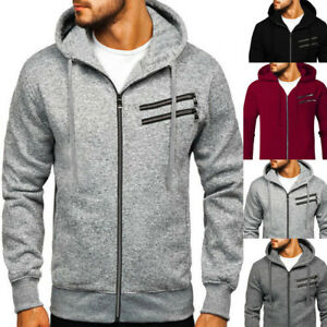 New Men/'s Winter Warm Zipper Hoodie Hooded Sweatshirt Coat Jacket Jumper Outwear