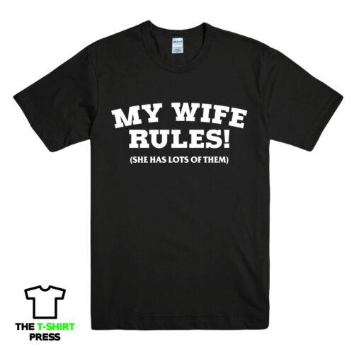 Ma femme règles Drôle Imprimé Slogan T-shirt Homme Idée Cadeau Fantaisie mari tee