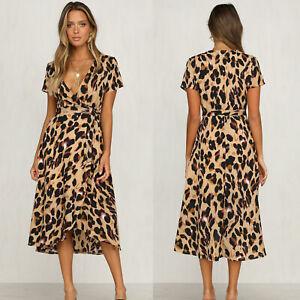 Women Ladies Wrap V-neck Leopard Casual Midi Dress Asymmetric Summer Sundress
