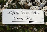 Happily Ever After wedding directional sign shabby vintage chic