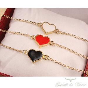 Cuore-Donna-Gioielli-Fashion-Charm-Bracciale-rosso-Braccialetto-bianco-nero-lp