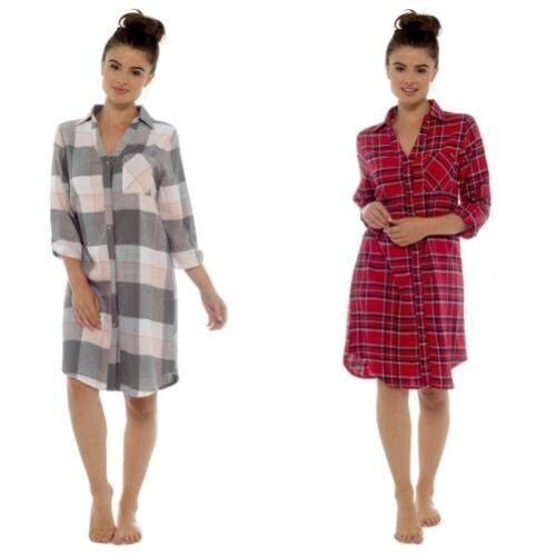 Damen Kariert Flanell Nachthemd Ln836